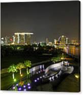 Singapore Night Skyline From Marina Barrage Canvas Print