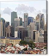 Singapore Skyline Along Chinatown Area Canvas Print