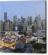 Singapore Skyline Along Chinatown Evening Canvas Print