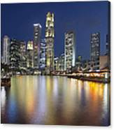 Singapore Skyline By Boat Quay Vertical Canvas Print