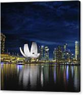 Singapore Skyline By River Waterfront At Dusk Canvas Print