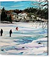 Singeltary Lake Ice Fishing Canvas Print