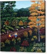 Sister's Autumn Stroll Canvas Print