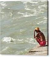 Sitting At Ganga Canvas Print