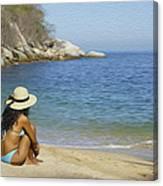 Sitting At The Beach Canvas Print