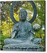 Sitting Bronze Buddha At San Francisco Japanese Garden Canvas Print