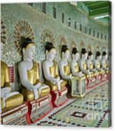 sitting Buddhas in Umin Thonze Pagoda Canvas Print