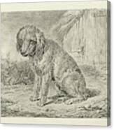 Sitting Dog In A Barn, Johannes Mock Canvas Print