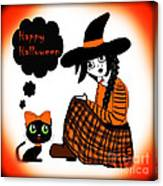 Sitting Halloween Witch Canvas Print