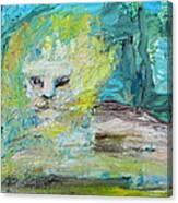 Sitting Lion Oil Portrait Canvas Print