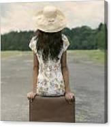 Sitting On A Suitcase Canvas Print