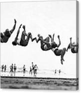 Six Men Doing Beach Flips Canvas Print