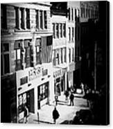 Six O'clock On The Street - Black And White Canvas Print