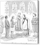 Six People In Church Canvas Print