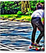 Skateboarder In Central Park Canvas Print
