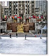 Skating At Rockefeller Plaza Canvas Print