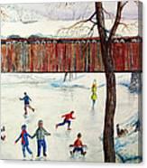 Skating At The Bridge Canvas Print