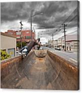 Dump Truck Skateboarding In Balboa Street Canvas Print
