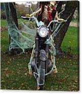 Skeleton Biker On Motorcycle  Canvas Print