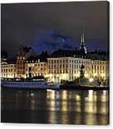 Skeppsbron At Night Canvas Print