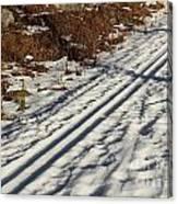 Ski Track In Sunlight In Spring Canvas Print