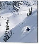 Skier Hitting Powder Below Nak Peak Canvas Print