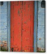 Skc 0401 Closed Red Door Canvas Print