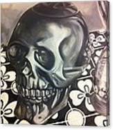 Skull And Hourglass Canvas Print