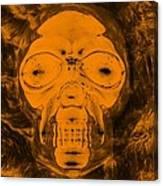 Skull In Negative Orange Canvas Print