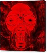 Skull In Negative Red Canvas Print