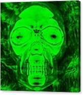 Skull In Radioactive Negative Green Canvas Print