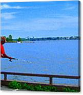 Sky Blue Calm Waters Fisherman On The Pier  Lachine Canal Montreal Summer Scenes Carole Spandau Canvas Print