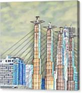 Sky Stations Pylon Caps - Downtown Kansas City Missouri Canvas Print