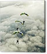 Skydivers In Mid-air Canvas Print