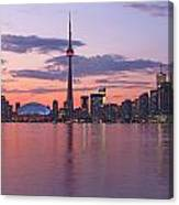 Skyline At Dusk From Centre Island Canvas Print