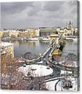 skyline of Budapest with Danube river Hungary  Canvas Print