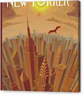 Skyline Of Nyc At Sunset With Icarus Flying Close Canvas Print