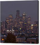 Skylines At Dusk, Seattle, King County Canvas Print
