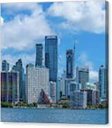 Skylines At The Waterfront, Miami Canvas Print