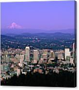 Skylines In A City With Mt Hood Canvas Print