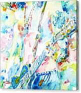 Slash Playing Live - Watercolor Portrait Canvas Print