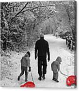 Sledding With Dad Canvas Print