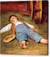 Sleeping Boy In The Hay Canvas Print