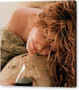 Sleeping Girl With A Glass Of Wine Canvas Print