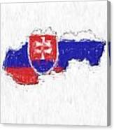 Slovakia Painted Flag Map Canvas Print