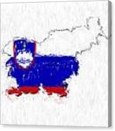 Slovenia Painted Flag Map Canvas Print
