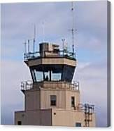 Small Air Traffic Control Tower Man Behind Glass Canvas Print