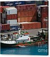 Small Boat With Cargo Containers Canvas Print