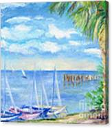 Small Boats On Water Canvas Print