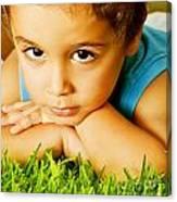 Small Boy On Green Grass Canvas Print